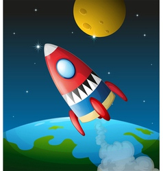 A spacecraft in the sky vector image