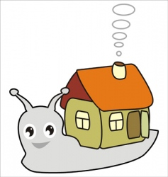 cartoon snail with a house vector image vector image