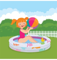 Little girl splashing in an inflatable pool in his vector image