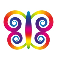 rainbow butterfly vector image vector image