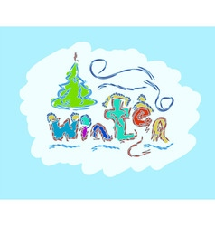 winter text hand drawn creative seasonal card vector image vector image