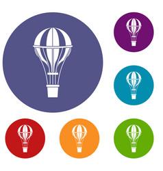 Air balloon journey icons set vector