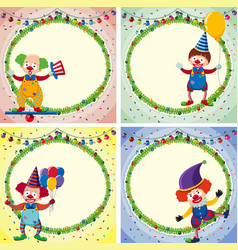 four border templates with happy clowns and lights vector image