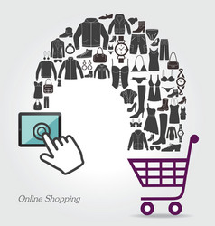Online Shopping Conceptual background with women vector image vector image