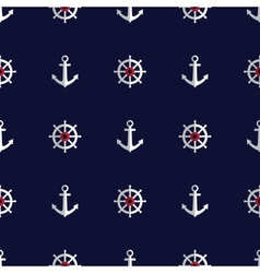 Sea style seamless pattern with anchors and helms vector image