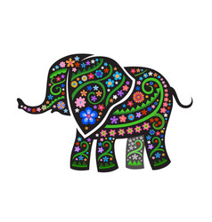 silhouette of elephant with ethnic pattern vector image vector image