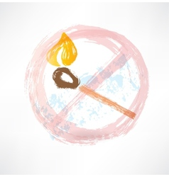 ban matches grunge icon vector image vector image