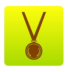 medal simple sign brown icon at green vector image