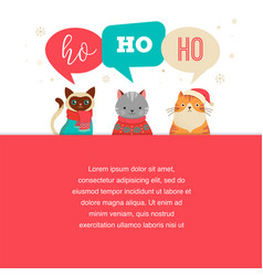 merry christmas poster with cute cats characters vector image