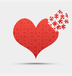 Red piece puzzle heart valentines day love vector