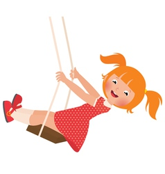 Redhead girl on a swing vector image vector image
