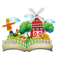 chickens and scarecrow by the barn vector image vector image