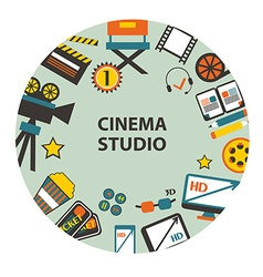 Cinema studio emblem vector image