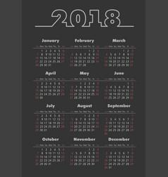pocket 2018 year dark background calendar vector image