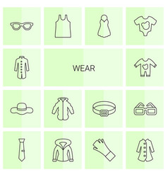 14 wear icons vector