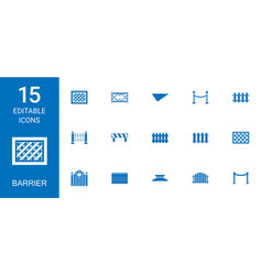 15 barrier icons vector image