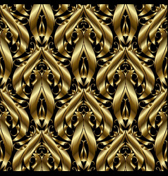 3d gold textured baroque seamless pattern vector image