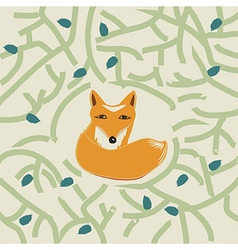 A cute little fox in a forest vector