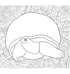 adult coloring bookpage a cute turtle on the vector image