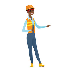 African-american builder pointing to the side vector
