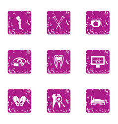 Aid post icons set grunge style vector