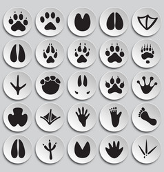 Animal foot prints icons set on plates background vector