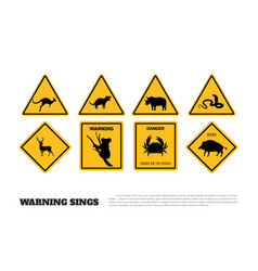 Animals yellow warning signs vector