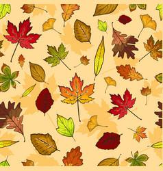 Autumn leaves seamless pattern wallpaper vector