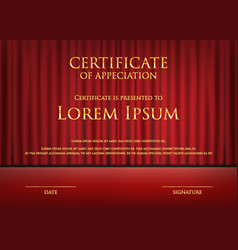award theme certificate card with red curtain vector image
