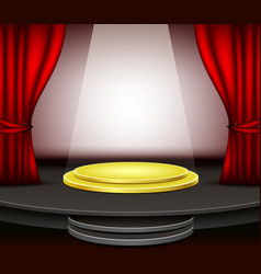background stage podium with red curtains vector image