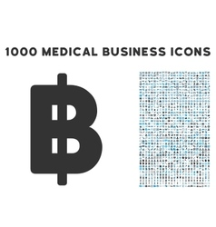 Baht Icon with 1000 Medical Business Pictograms vector