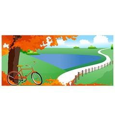 Bicycle under tree vector
