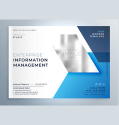 Blue geometric business brochure presentation vector