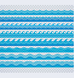 Blue transparent wave patterns vector