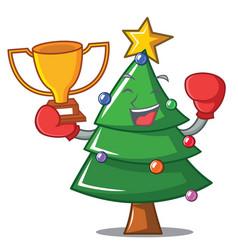 Boxing winner christmas tree character cartoon vector