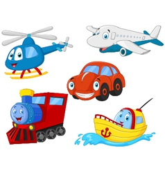 Cartoon transportation collection vector image