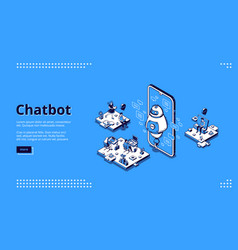 chatbot robot support people in office vector image