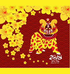 Chinese new year card with plum blossom and lion vector