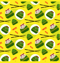 chinese triangle dumpling pattern paper vector image