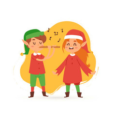 christmas elves kids singing caroling cartoon vector image