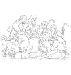 Christmas nativity scene holy family and shepherds vector