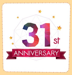 Colorful polygonal anniversary logo 2 031 vector