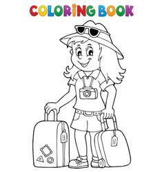 Coloring book tourist woman theme 1 vector