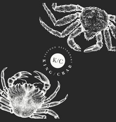 Crab design template hand drawn seafood on chalk vector