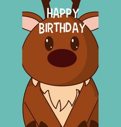 deer cute birthday card vector image