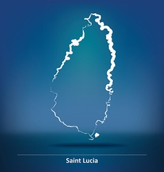 Doodle Map of Saint Lucia vector