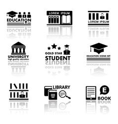 education set with reflection vector image