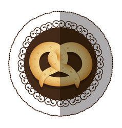 Emblem color pretzel bread icon vector