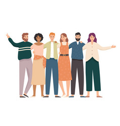 Embracing friends group portrait happy students vector