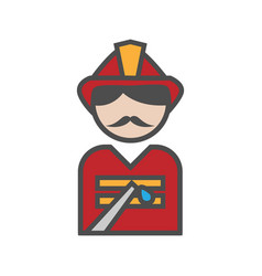 Fireman icon with uniform on white background vector